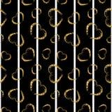 Gold heart seamless pattern. Black-white geometric stripes, golden grunge confetti-hearts. Symbol of love, Valentine day. Holiday. Design wallpaper, background vector illustration