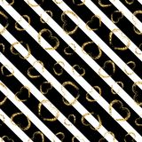 Gold heart seamless pattern. Black-white geometric stripes, golden grunge confetti-hearts. Symbol of love, Valentine day. Holiday. Design wallpaper, background Royalty Free Stock Image