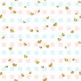 Gold heart seamless pattern. Blue-pink-white geometric square, golden confetti-hearts. Symbol of love, Valentine day Stock Photo