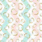 Gold heart seamless pattern. Blue-pink-white geometric zig zag, golden grunge confetti-hearts. Symbol love, Valentine stock illustration