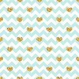 Gold heart seamless pattern. Blue-white geometric zig zag, golden confetti-hearts. Symbol of love, Valentine day holiday. Design wallpaper, background, fabric stock illustration
