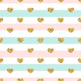Gold heart seamless pattern. Pink-blue-white geometric stripes, golden confetti-hearts. Symbol of love, Valentine day Royalty Free Stock Image