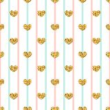 Gold heart seamless pattern. Pink-blue-white geometric stripes, golden confetti-hearts. Symbol of love, Valentine day Royalty Free Stock Photography