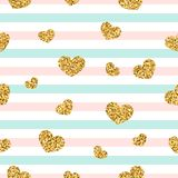 Gold heart seamless pattern. Pink-blue-white geometric stripes, golden confetti-hearts. Symbol of love, Valentine day royalty free illustration