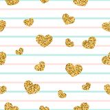 Gold heart seamless pattern. Pink-blue-white geometric stripes, golden confetti-hearts. Symbol of love, Valentine day Stock Image