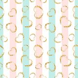 Gold heart seamless pattern. Pink-blue-white geometric stripes, golden grunge confetti-hearts. Symbol of love, Valentine. Day. Design wallpaper, background royalty free illustration