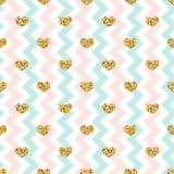 Gold heart seamless pattern. Pink-blue-white geometric zig zag, golden confetti-hearts. Symbol of love, Valentine day royalty free illustration