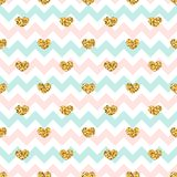 Gold heart seamless pattern. Pink-blue-white geometric zig zag, golden confetti-hearts. Symbol of love, Valentine day stock illustration