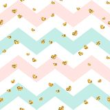 Gold heart seamless pattern. Pink-blue-white geometric zig zag, golden confetti-hearts. Symbol of love, Valentine day Royalty Free Stock Photography
