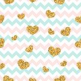 Gold heart seamless pattern. Pink-blue-white geometric zig zag, golden confetti-hearts. Symbol of love, Valentine day Stock Image