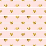 Gold heart seamless pattern. Pink-white geometric stripes, golden confetti-hearts. Symbol of love, Valentine day holiday. Design wallpaper, background, fabric royalty free illustration