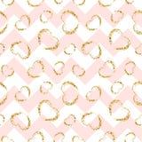 Gold heart seamless pattern. Pink-white geometric zig zag, golden grunge confetti-hearts. Symbol of love, Valentine day. Holiday. Design wallpaper, background royalty free illustration
