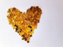 Creative love heart concept. Gold stars heart royalty free stock images