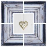 Gold heart shape and wooden frame -  greeting card for birthday Royalty Free Stock Images