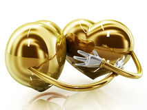 Gold heart shaped couple Stock Photography