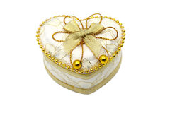 Gold Heart Shaped Jewel Box close up. Gold Heart Shaped Jewel Box close up on white background Stock Illustration