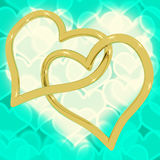 Gold Heart Shaped Rings Royalty Free Stock Image