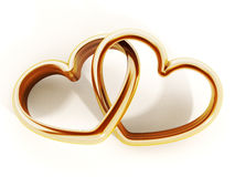 Gold heart shaped rings attached to each other. 3D illustration Stock Image