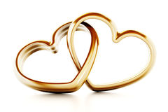 Gold heart shaped rings attached to each other. 3D illustration Stock Images
