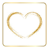 Gold heart silhouette Stock Photography