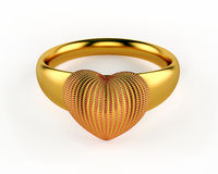 Gold Heart and wedding rings Stock Photos