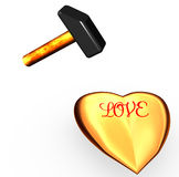 Gold heart on which strike a hammer. Stock Image
