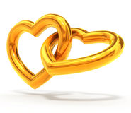 Gold hearts Stock Images