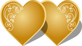 Gold hearts. Couple gold hearts with an ornament on white background. Vector illustration Royalty Free Stock Photography