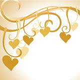 Gold hearts background Stock Images