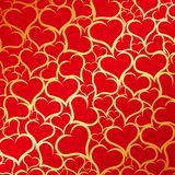 Gold hearts background Stock Photo