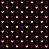 Gold hearts confetti seamless pattern on a black background. Gold glittering foil hearts seamless pattern on a black background. Luxury Elegant Happy Valentine Stock Images