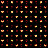 Gold hearts confetti seamless pattern on a black background. Gold glittering foil hearts seamless pattern on a black background. Luxury Elegant Happy Valentine Stock Photos