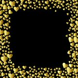 Gold Hearts frame isolated on black background Stock Images