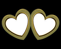 Gold Hearts Frames. Golden Hearts over black for frame or Valentine card or background. insert your own pictures Stock Photography