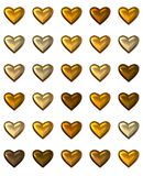 Gold Hearts Isolated on White. Gold hearts in various shades, isolated on white.  These gold hearts are perfect for any love themed content creation online or Royalty Free Stock Image