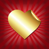 Gold Hearts Label With Red Sunburst Stock Photo