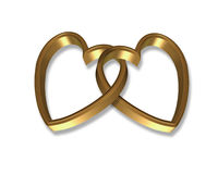 Gold Hearts Linked 3D Stock Images