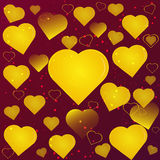 Gold hearts on a maroon background abstraction Royalty Free Stock Images