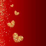 Gold hearts on a red background, Royalty Free Stock Images