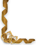 Gold Hearts and Ribbons Corner. Image and illustration composition for Valentine or wedding background or invitation Royalty Free Stock Photos