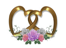 Gold Hearts and Roses 3D Royalty Free Stock Photography