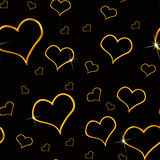 Gold Hearts Seamless Background. Gold Heart Background which will tile seamlessly Stock Photography
