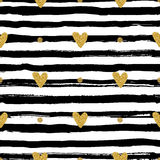 Gold hearts seamless pattern, hand-drawn black stripes brush and ink vector illustration
