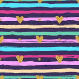 Gold Hearts Seamless Pattern, Hand-drawn Colorful Stripes Brush And Ink Stock Images