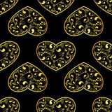 Gold hearts seamless Stock Images