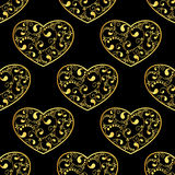 Gold hearts seamless Stock Photography