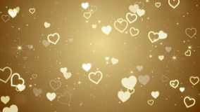 Gold hearts and stars. Computer generated abstract illustration Royalty Free Stock Photo