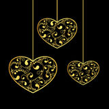 Gold hearts textured. Hanging on black background. vector illustration stock illustration