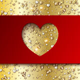 Gold hearts valentine day greeting red card Royalty Free Stock Photos