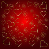A gold hearts valentines day background Stock Photo